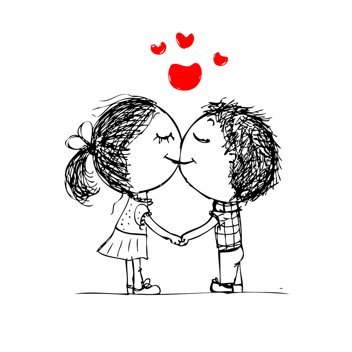 Cartoon boy and girl kissing