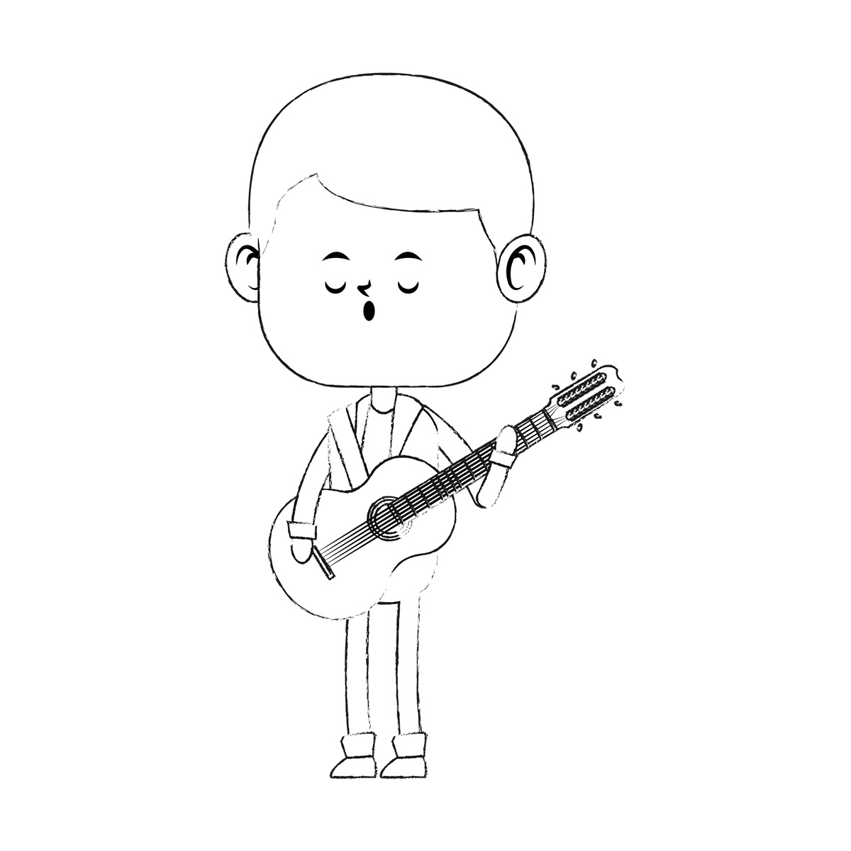Cartoon boy playing a guitar and singing