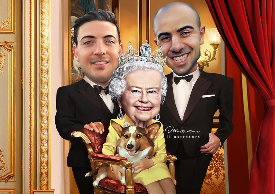 Finished caricature of the Queen with boys and dog
