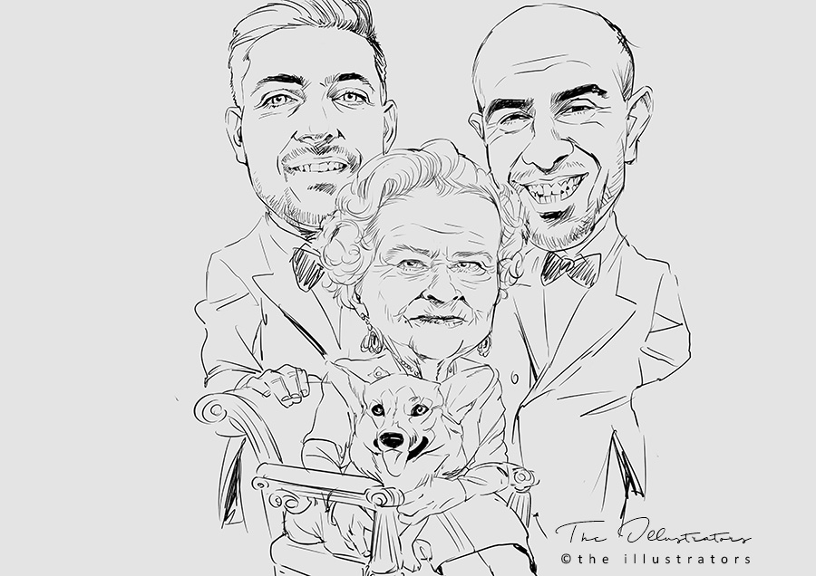 Sketch of the Queen with Sydney boys and dog