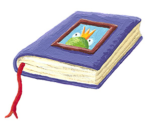 Purple book cover with a frog illustration