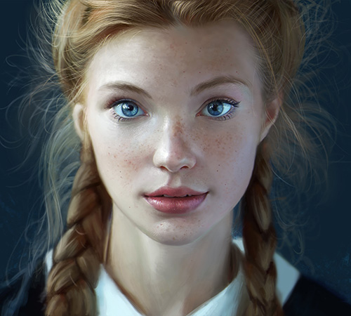 Blonde girl with blue eyes and braided hair