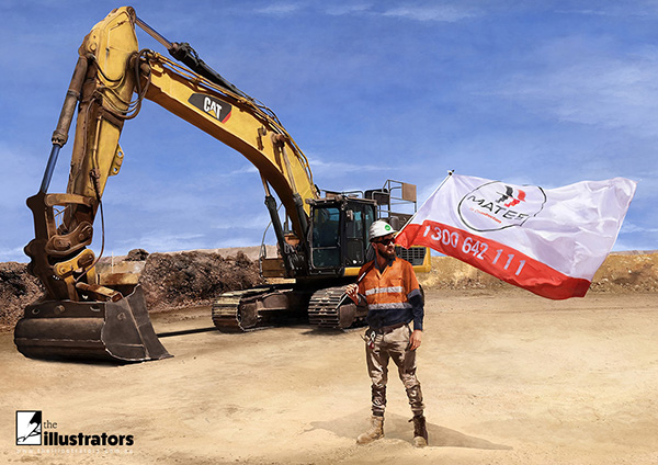 Australian construction worker holding a flag and CAT excavator