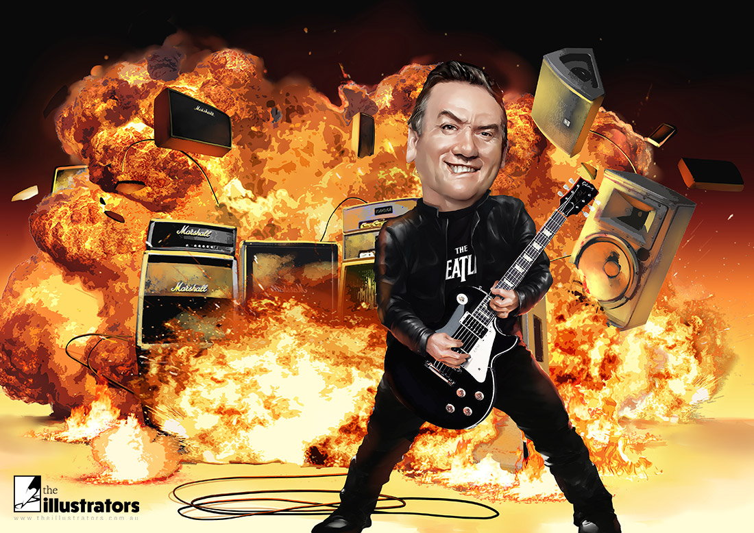 Eddie McGuire playing a guitar and an explosion in the background