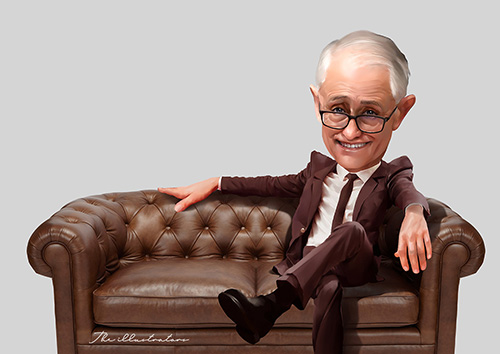 Malcolm Turnbull caricature, sitting on a brown leather couch