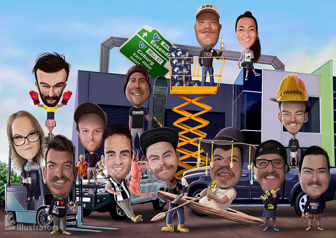 Panel Construction team caricature