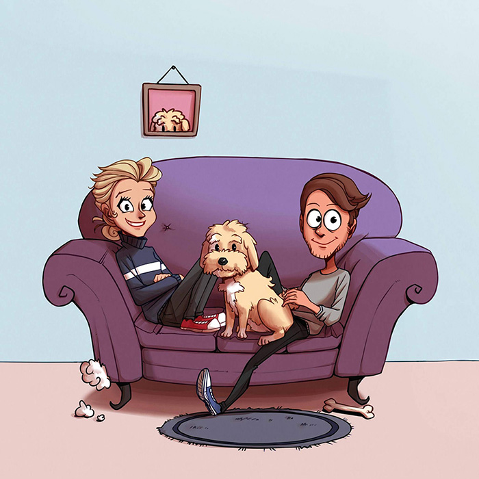 A Man and Wowan sitting on a purple couch with a cute dog in the middle