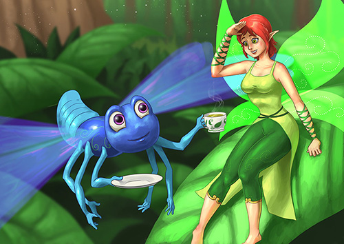 Blue dragonfly and female elf in close proximity