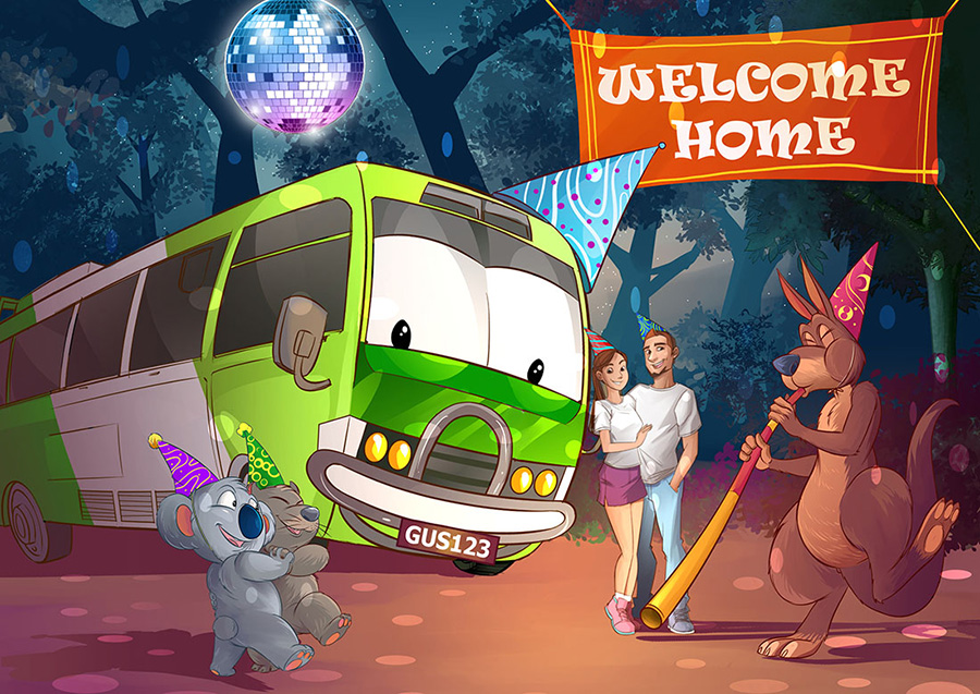 Happy bus, a koala dancing with a wombat and kangaroo playing a didgeridoo