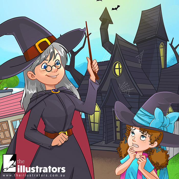 Happy little girl witch with her Gran witch