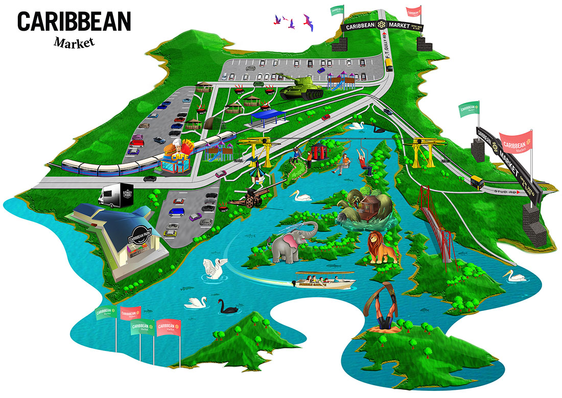 Illustrated theme park map of Caribbean Gardens and Market