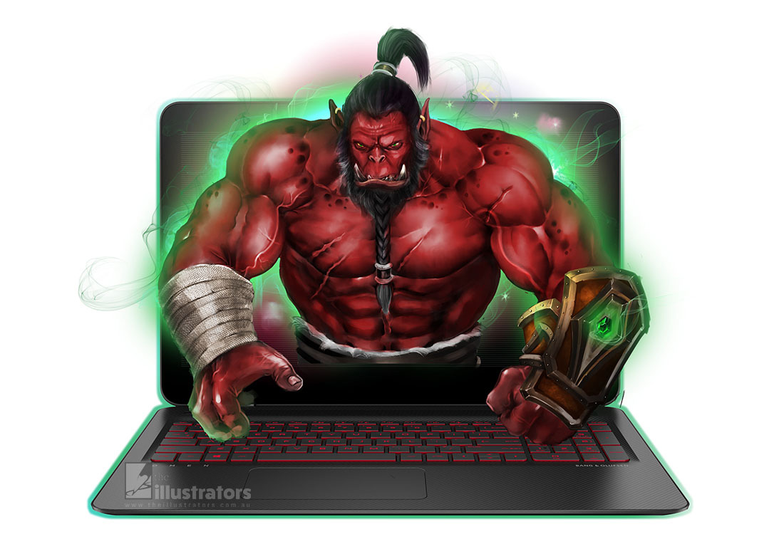 Red Warcraft Orc coming out of a computer screen