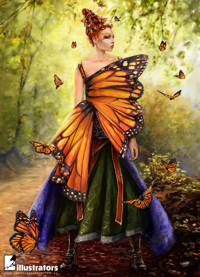 Red hair fantasy girl in butterfly dress