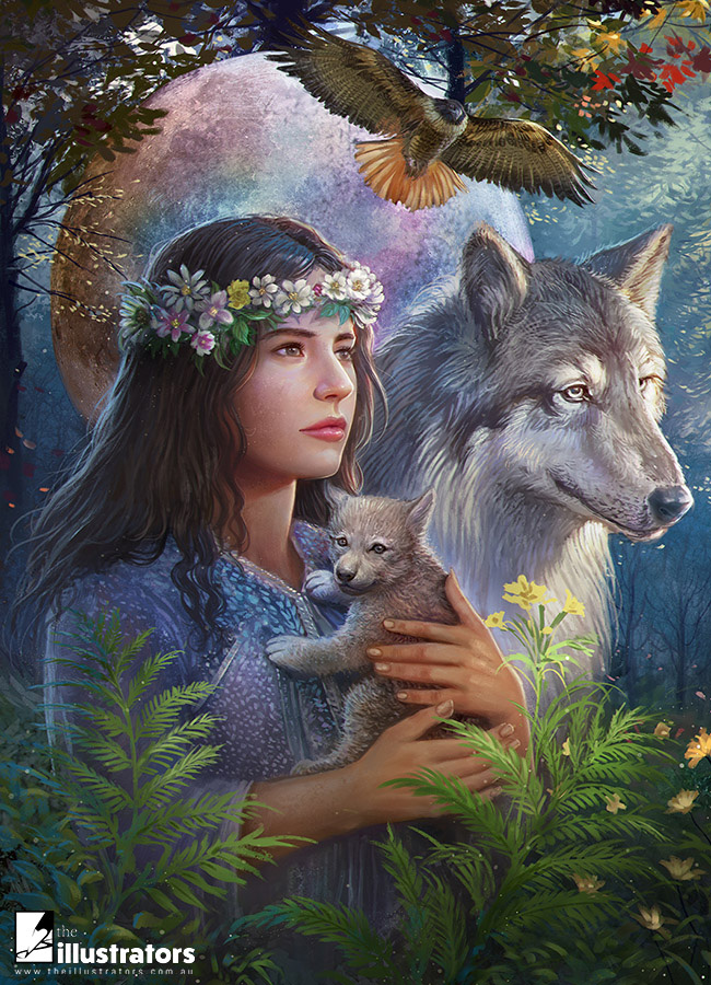 Beautify woman holding a baby wolf
