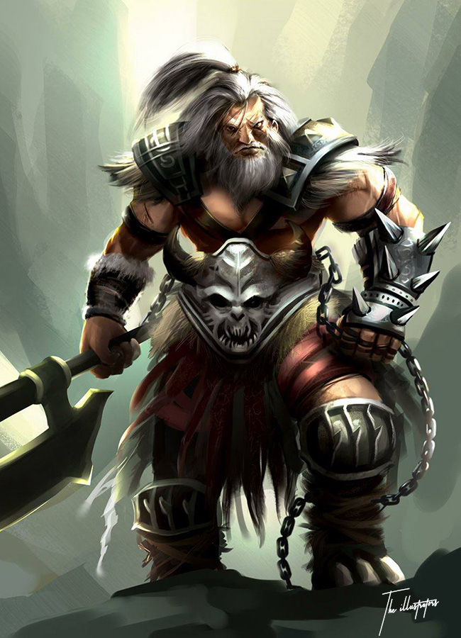 Fantasy illustration of a Dwarf in armour holding an Axe