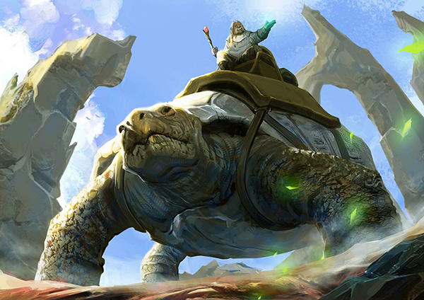 King riding a giant turtle