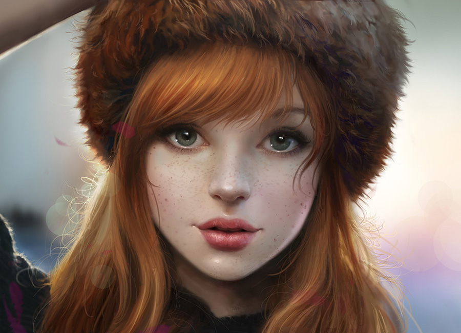 Red haired girl with winter hat