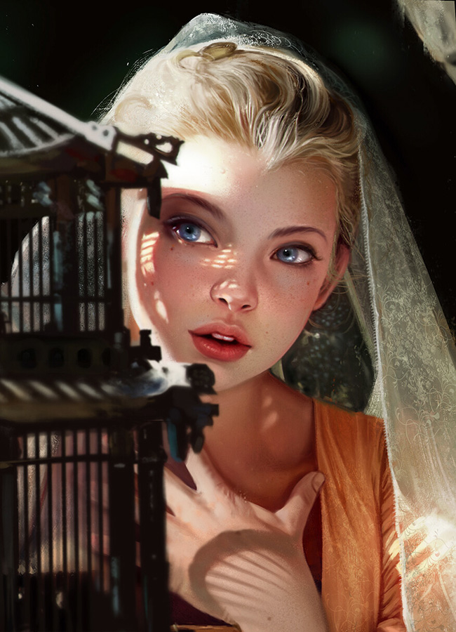 Portrait of young girl next to a birdcage