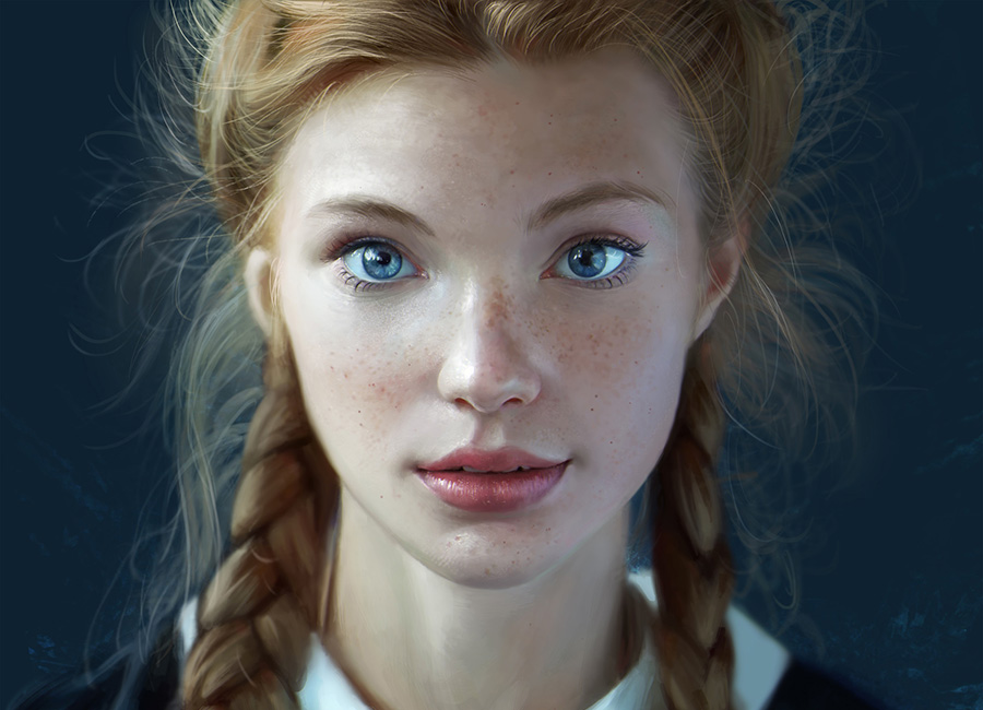 Portrait of a blonde girl with blue eyes and braided hair