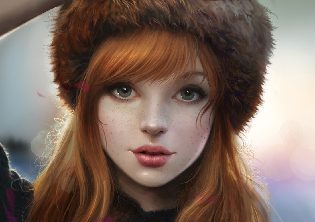 Red haired girl wearing a fluffy Russian winter hat