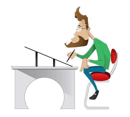 Cartoon of an artist drawing on a table