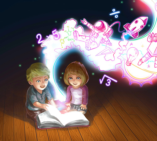 Illustration of a boy and girl reading a children's book. Images are coming to life out of the book
