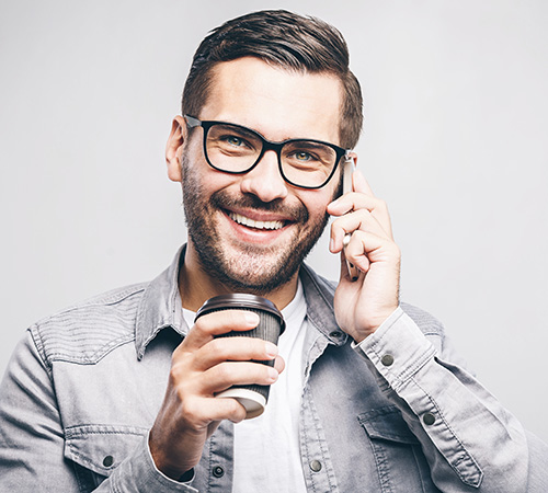 Happy man with coffee